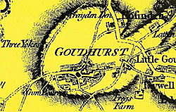 Old map of Goudhurst village